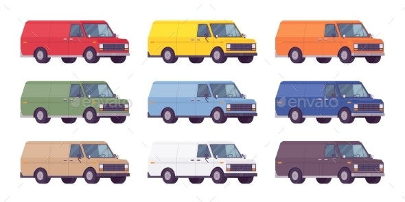 Van Set in Bright Colors - Man-made Objects Objects