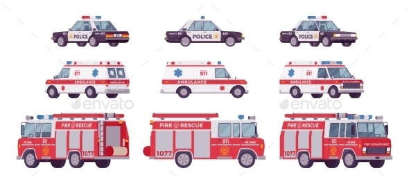 Police Car, Ambulance, Fire Truck Set - Man-made Objects Objects