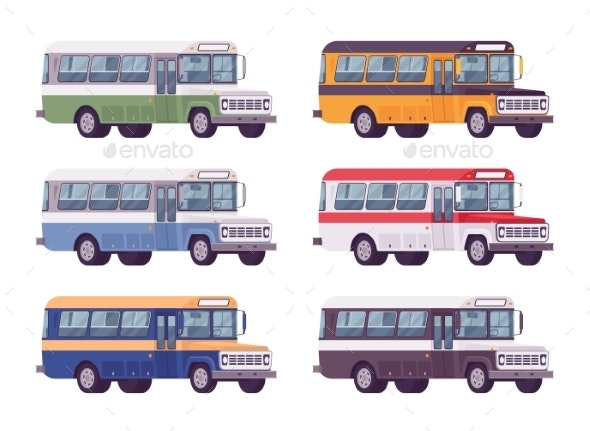 Retro Bus Set in Bright Colors - Man-made Objects Objects