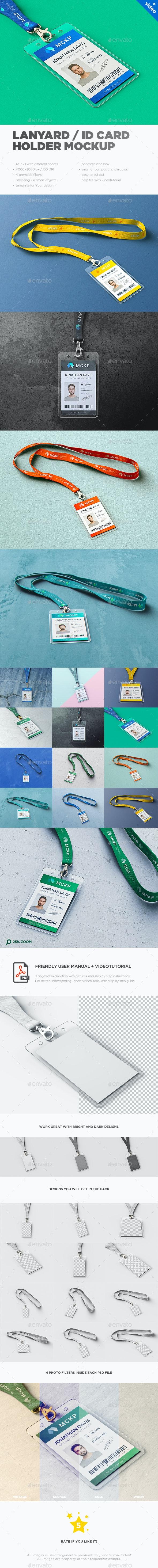 Lanyard / ID Card Holder MockUp - Stationery Print