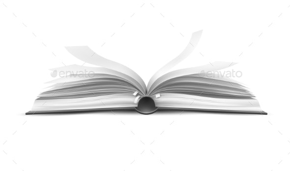Vector Realistic Open Book with Fluttering Pages - Miscellaneous Vectors