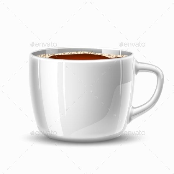 Vector Realistic Cup of Coffee Side View - Food Objects
