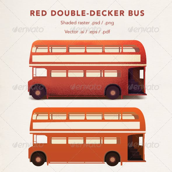 Red Double-Decker Bus Vector/Raster
