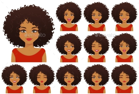 African Woman Expressions Set - People Characters