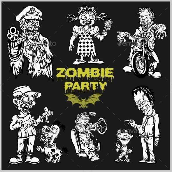 Zombie Comic Set - Cartoon Zombie. - Miscellaneous Vectors