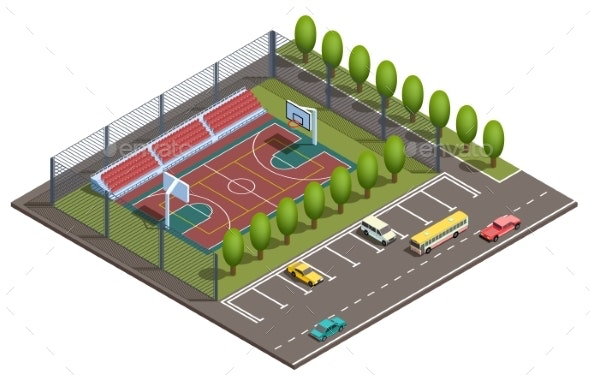 Vector Isometric Basketball Court - Landscapes Nature