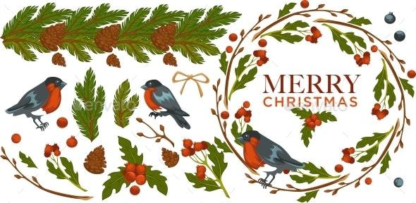 Merry Christmas, Bullfinch Birds with Mistletoe - Seasons/Holidays Conceptual
