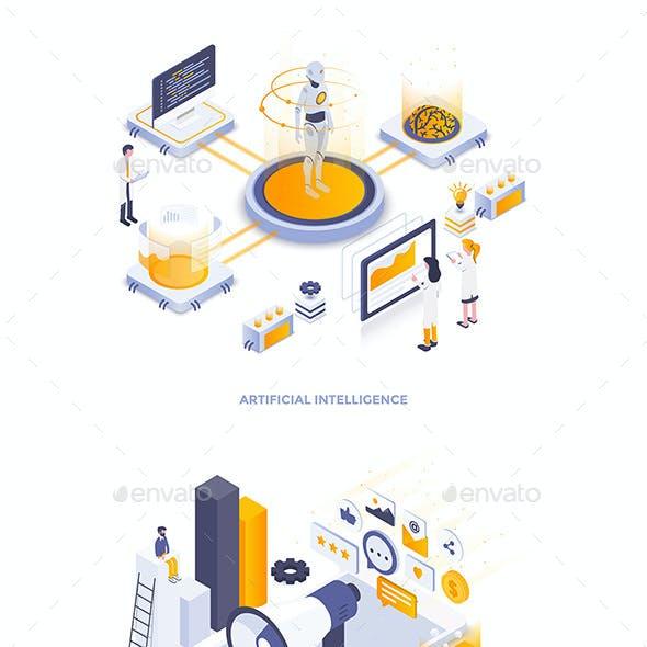 Modern Isometric Illustration on Various Topics