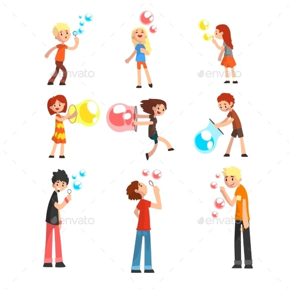 Adults and Children Blowing Soap Bubbles Set - People Characters