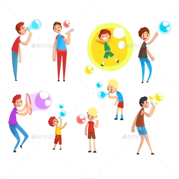 Adults and Children Blowing Soap Bubbles - People Characters