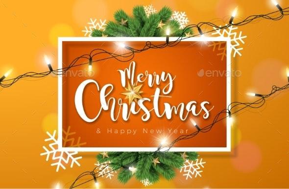 Merry Christmas Illustration with Lights Garland - Christmas Seasons/Holidays
