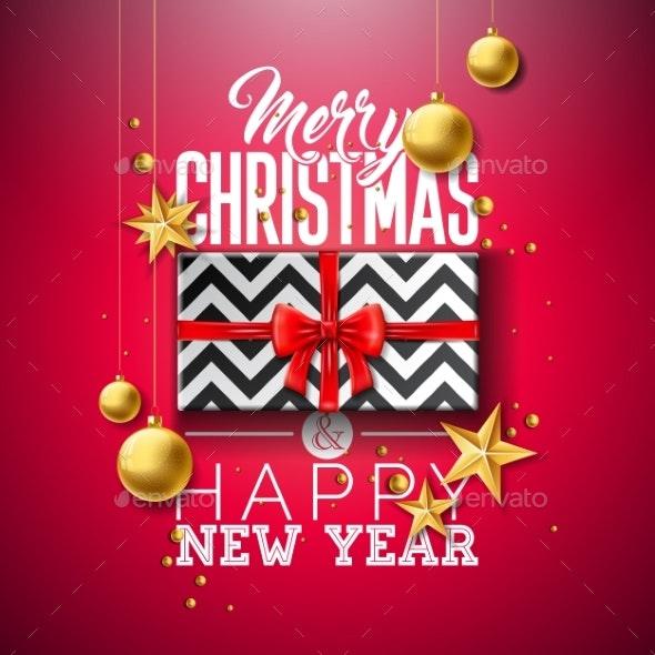 Merry Christmas Illustration with Gift Box - Christmas Seasons/Holidays