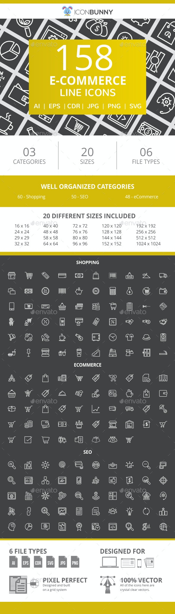 158 E-Commerce Line Inverted Icons - Icons