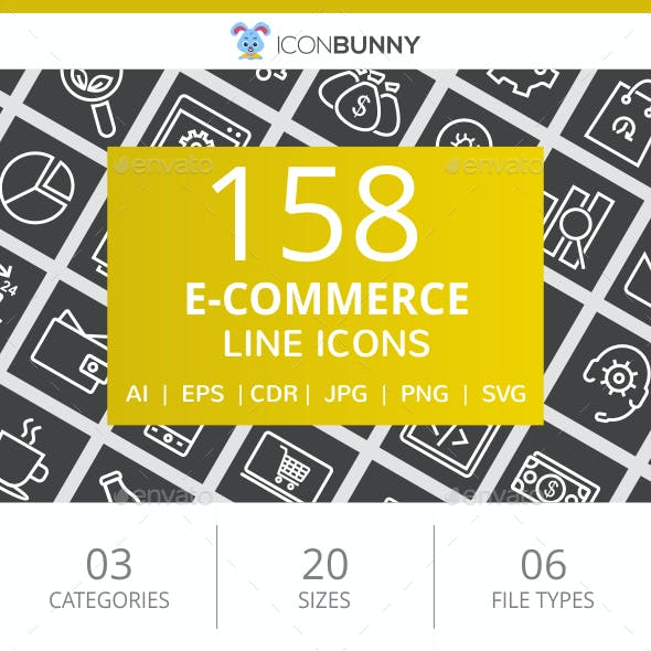 158 E-Commerce Line Inverted Icons