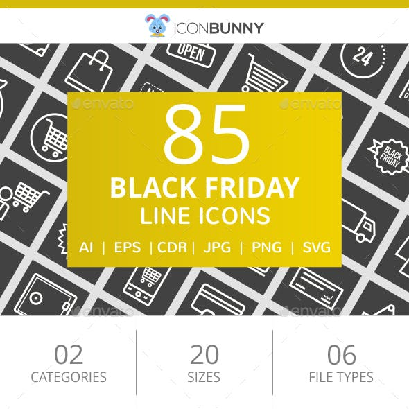 85 Black Friday Line Inverted Icons
