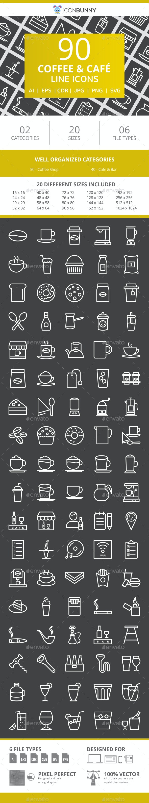 90 Coffee & Cafe Line Inverted Icons - Icons