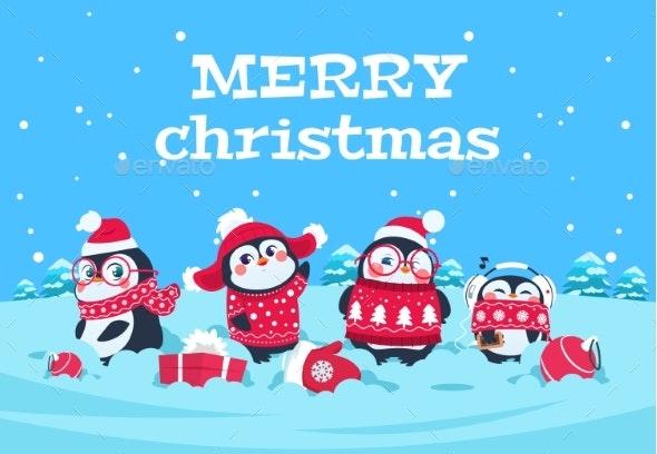 Cartoon Penguins. Christmas Baby Penguin - Characters Vectors