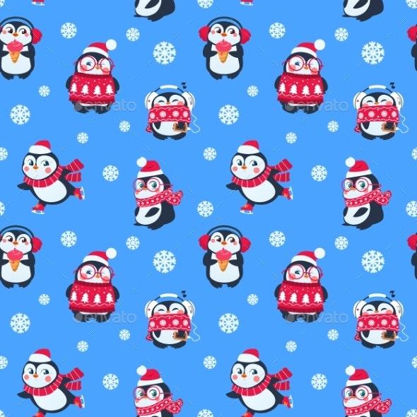 Penguins Seamless Pattern. - Backgrounds Decorative