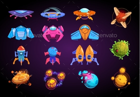Cartoon Planets and Spaceships. Fantastic Rockets - Objects Vectors
