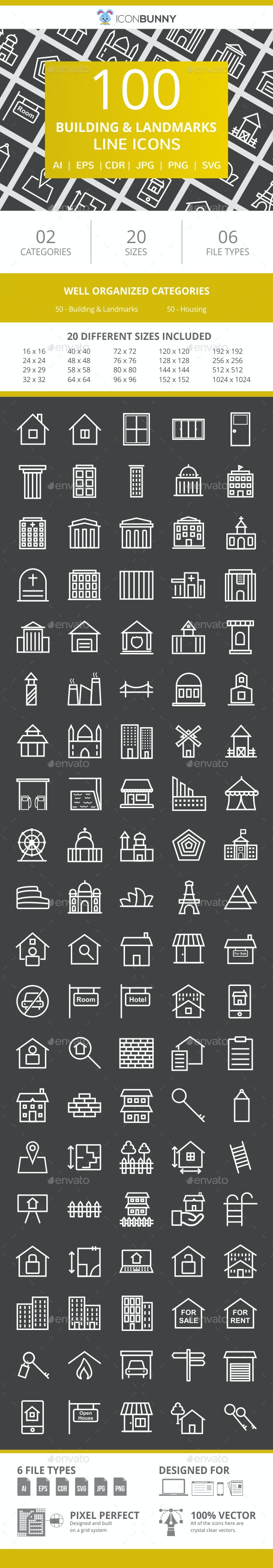 100 Building & Landmarks Line Inverted Icons - Icons