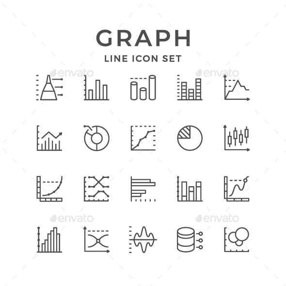 Set Line Icons of Graph and Diagram - Man-made objects Objects
