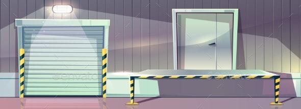 Warehouse Unloading Platform Vector Roller - Industries Business