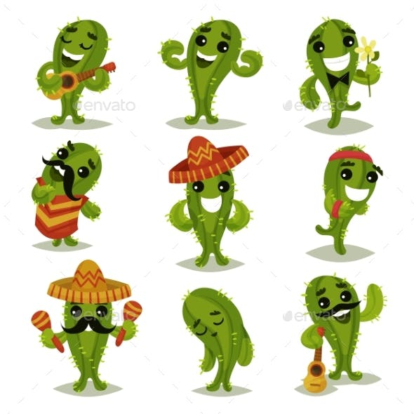 Flat Vector Set of Funny Green Cacti in Different