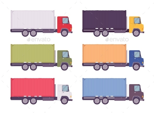 Euro Truck, Metal Container Set in Bright Colors - Man-made Objects Objects