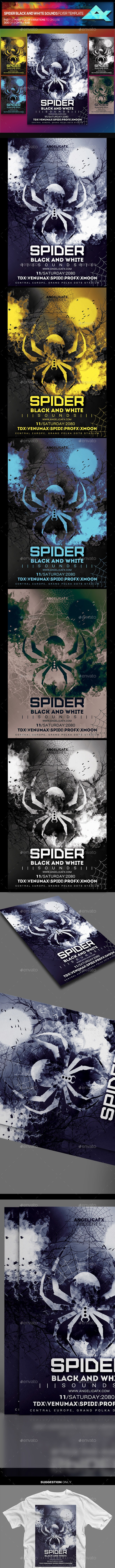 Spider Black and White Sounds Photoshop Flyer Template - Flyers Print Templates