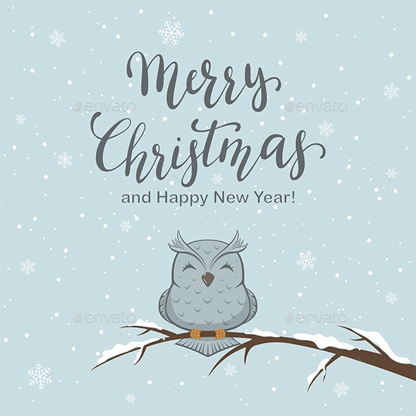 Lettering Merry Christmas on Winter Background - Christmas Seasons/Holidays