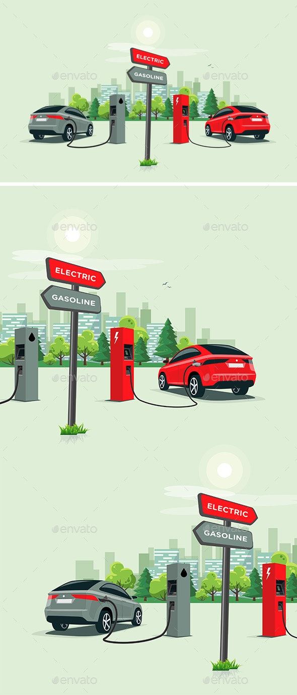 Comparing Electric Car Versus Gasoline Car - Travel Conceptual