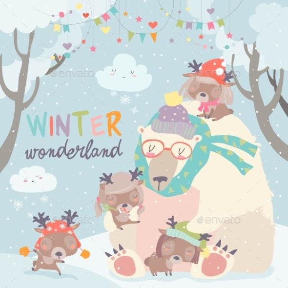 Polar Bear with Deer in Snow Forest - Christmas Seasons/Holidays