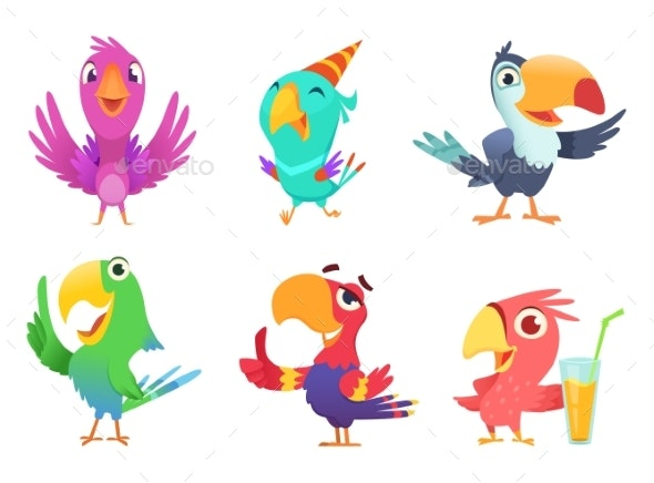 Cartoon Parrot Characters - Animals Characters