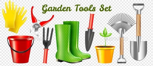Realistic Garden Tools Transparent Set - Backgrounds Decorative