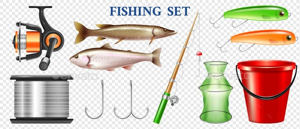 Realistic Fishing Elements Transparent Set - Animals Characters