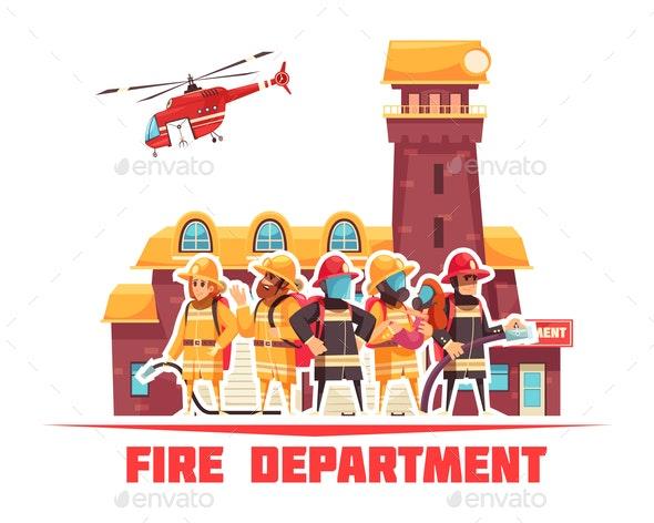 Flat Fire Department Background - Miscellaneous Vectors