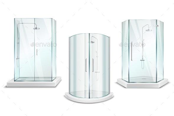 Realistic Shower Cabin Set - Miscellaneous Vectors