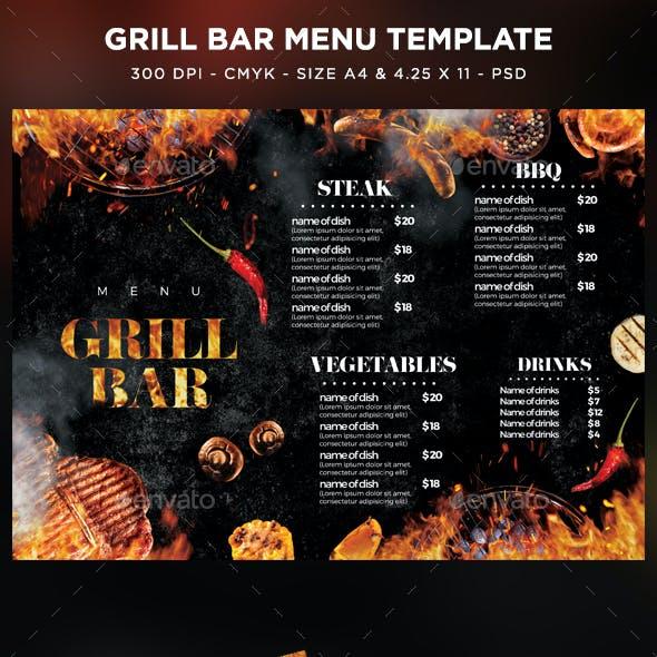 Grill Bar Menu