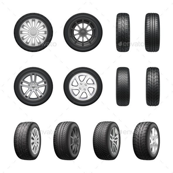 Tires Wheels Realistic Set - Miscellaneous Vectors