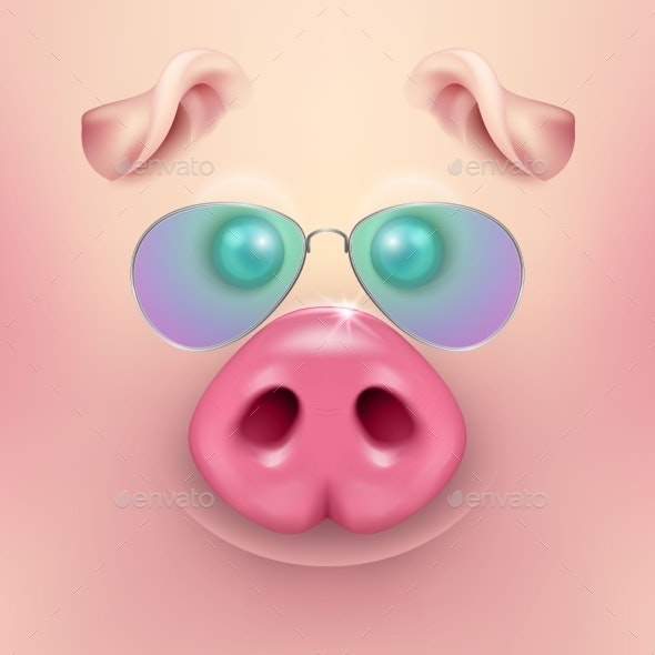 Vector Background with Cartoon Pig Face - Animals Characters