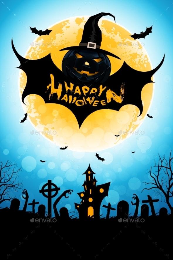 Halloween Background with Bat Monster - Halloween Seasons/Holidays