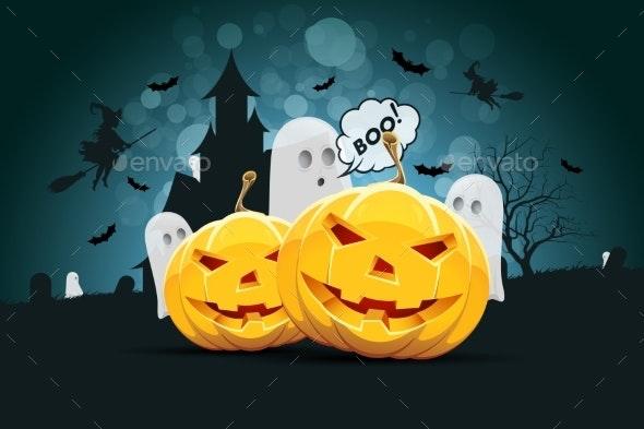 Halloween Background with Ghost - Halloween Seasons/Holidays