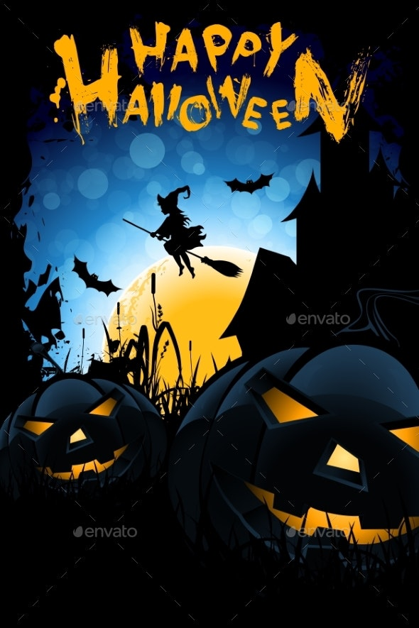 Halloween Illustration with Witch - Backgrounds Decorative