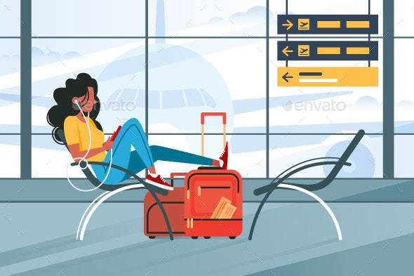 Young Girl Waiting for Flight on Plane - Travel Conceptual