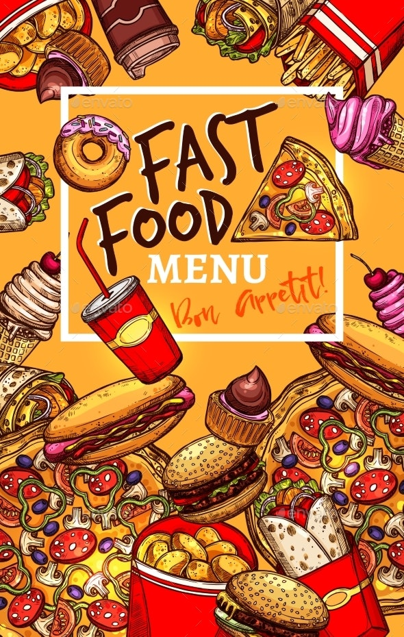 Vector Menu Template of Fast Food Restaurant - Food Objects