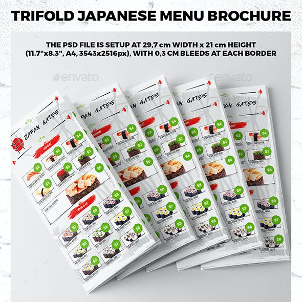Trifold A4 Japanese Menu Template vol.1