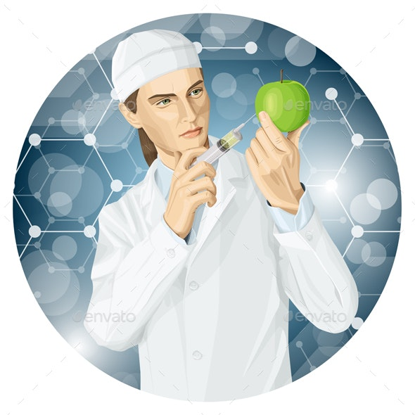 Doctor Does GMO Modification to an Apple - People Characters