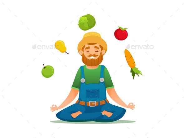 Farmer in Yoga Pose - Food Objects