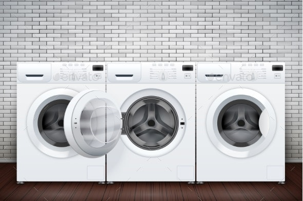 Laundry Room of Brick Wall and Washing Machines - Man-made Objects Objects