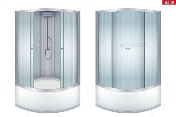 Modern Corner Shower Cabin - Man-made Objects Objects